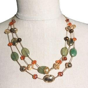 Orange Green & Gold beaded Matinee chain Necklace